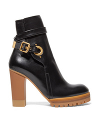 Chloé Suzey Glossed Leather Platform Ankle Boots