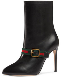 Gucci Sylvie Stripe Leather Ankle Boot