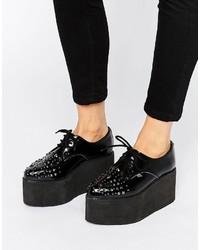 T.U.K. Stack Stud Mega Flatform Leather Shoes