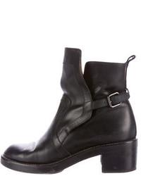 Balenciaga Leather Round Toe Ankle Boots