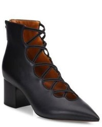 Valentino Mighty Crisscross Leather Block Heel Booties
