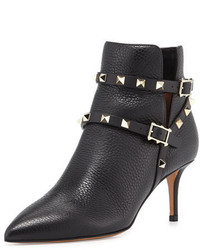 Valentino Rockstud Grained Leather 65mm Ankle Boot Black