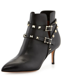 Valentino Rockstud Napa Leather 65mm Ankle Boot Black