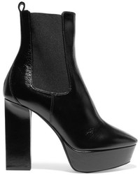 Saint Laurent Vika Leather Platform Ankle Boots Black