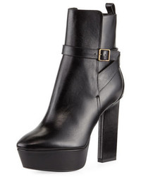 Saint Laurent Vika Leather Platform Bootie