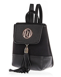 River Island Black Faux Suede Micro Backpack