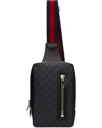 Gucci Black Grey Gg Supreme Belt Bag