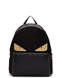 Fendi Black Leather Bag Bugs Backpack