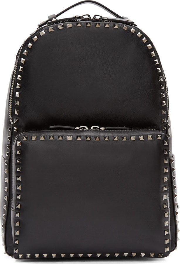 Valentino Black Leather Gunmetal Rockstud Backpack   Where to buy ... 429ba62ac91