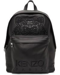 Kenzo Black Leather K Tiger Backpack