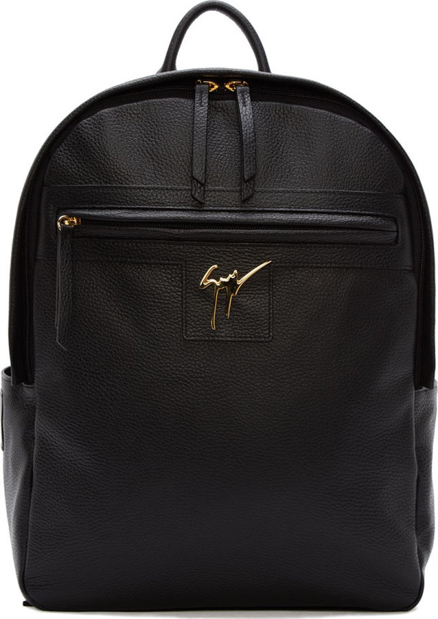 Giuseppe Zanotti Black Leather Logo Backpack   Where to buy   how to ... d1445293d74