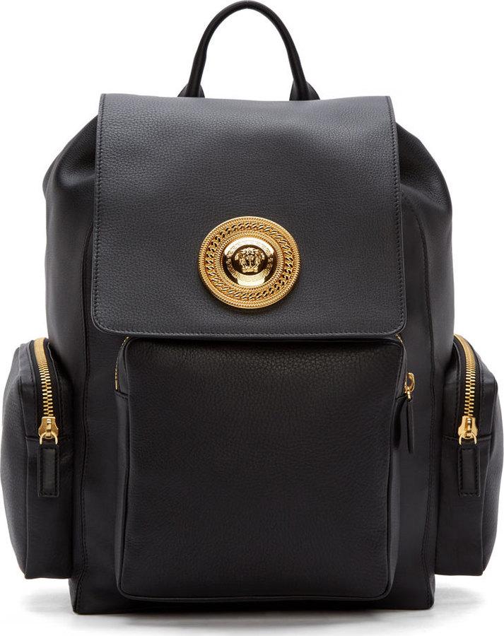 3365273e11 ... Versace Black Leather Medusa Backpack ...