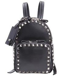 Valentino Black Leather Mini Rockstud Backpack