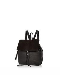 River Island Black Plain Leather Dog Clip Backpack