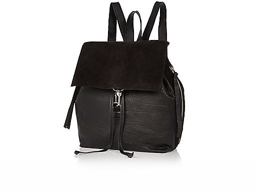 River Island Black Plain Leather Dog Clip Backpack | Where to buy ...