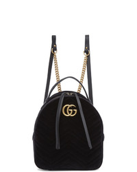 Gucci Black Velvet Gg Marmont 20 Backpack