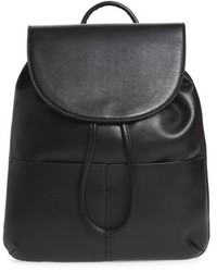 Drawstring Faux Leather Backpack Black