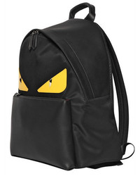 c906c33bfd9d ... Fendi Monster Leather Patched Nylon Backpack
