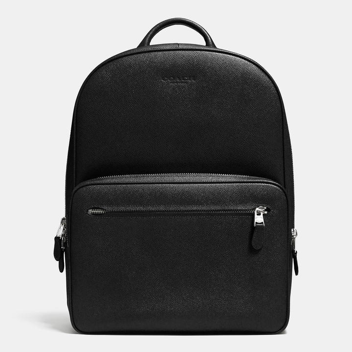 72a85b887 ... Black Leather Backpacks Coach Hudson Backpack In Crossgrain Leather ...