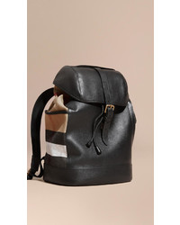 e9373a175f58 ... Burberry Leather And Canvas Check Backpack