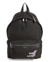 Saint Laurent Lightning Logo City Backpack