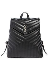 Saint Laurent Medium Loulou Calfskin Leather Backpack Black