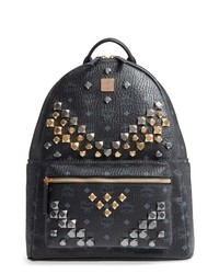 MCM Medium Visetos Studded Logo Backpack