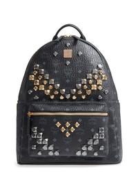 MCM Medium Visetos Studded Logo Backpack
