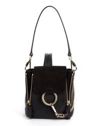 Chloé Mini Faye Leather Suede Backpack Black