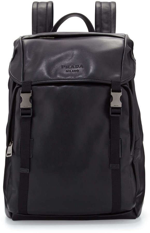 prada vela nylon tote - Prada Leather Double Buckle Backpack Black | Where to buy & how to ...