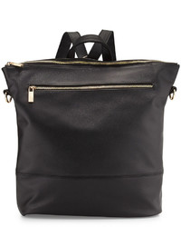 Neiman Marcus Saffiano Faux Leather Square Backpack Black