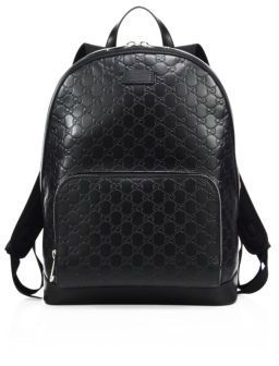 c8376d77350 ... Black Leather Backpacks Gucci Signature Embossed Leather Backpack ...
