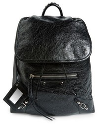 Balenciaga Small Classic Traveller Lambskin Leather Backpack Black