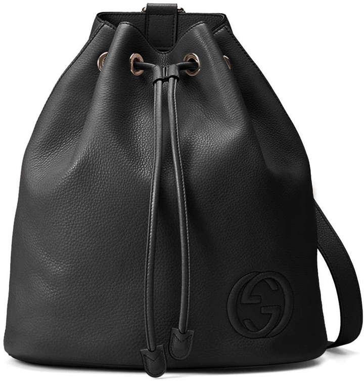 91ce23e1055 ... Gucci Soho Leather Drawstring Backpack Black ...
