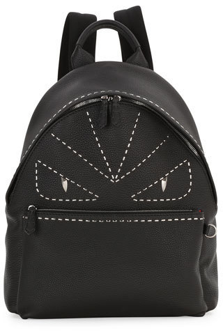 ... Fendi Stitched Monster Eyes Leather Backpack Black ... a983d815a8949