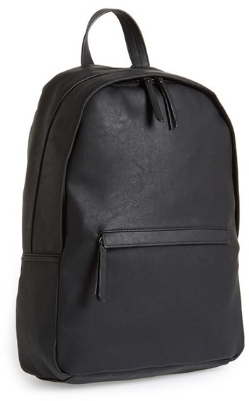 Topman Black Faux Leather Backpack   Where to buy & how to wear