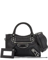 Balenciaga Metallic Mini City Leather Bag Black