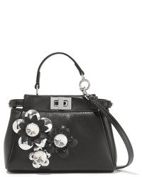 Fendi Peekaboo Micro Appliqud Leather Shoulder Bag Black