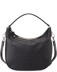 Tod's Signature Embossed Leather Hobo Bag Black