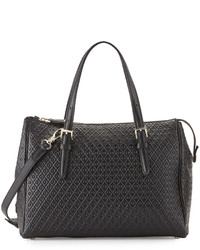 Tod's Signature Embossed Leather Satchel Bag Black