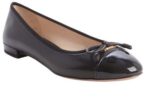 9f8a78c4ee Prada Black Cap Toe Bow Detail Ballet Flats, $650 | Bluefly ...
