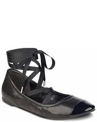 Sigerson Morrison Charlotte Leather Ankle Wrap Ballet Flats