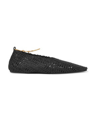 Stella McCartney Embellished Woven Cotton Point Toe Flats