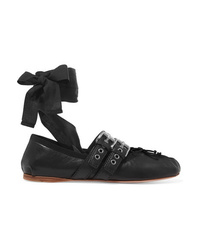 Miu Miu Lace Up Leather Ballet Flats