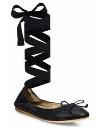 Saks Fifth Avenue Collection Leather Ankle Wrap Ballet Flats