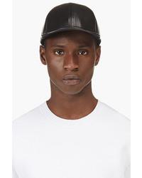 Black grain leather mj letterman baseball cap medium 28886
