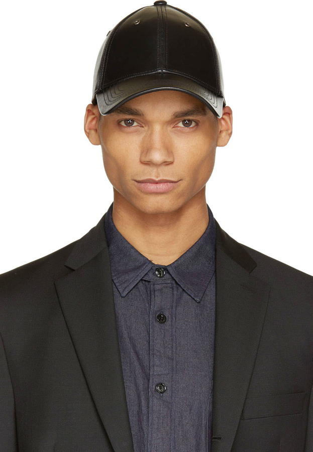 ... Marc by Marc Jacobs Black Grained Leather Cap ... 4e996904b6b
