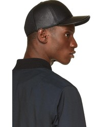 ... Neil Barrett Black Leather Baseball Cap 71a221f0250
