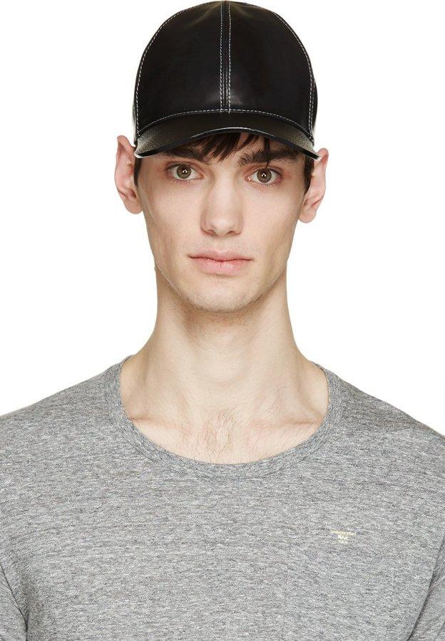 ... Marc Jacobs Black Leather Baseball Cap ... 8da9e7e7208