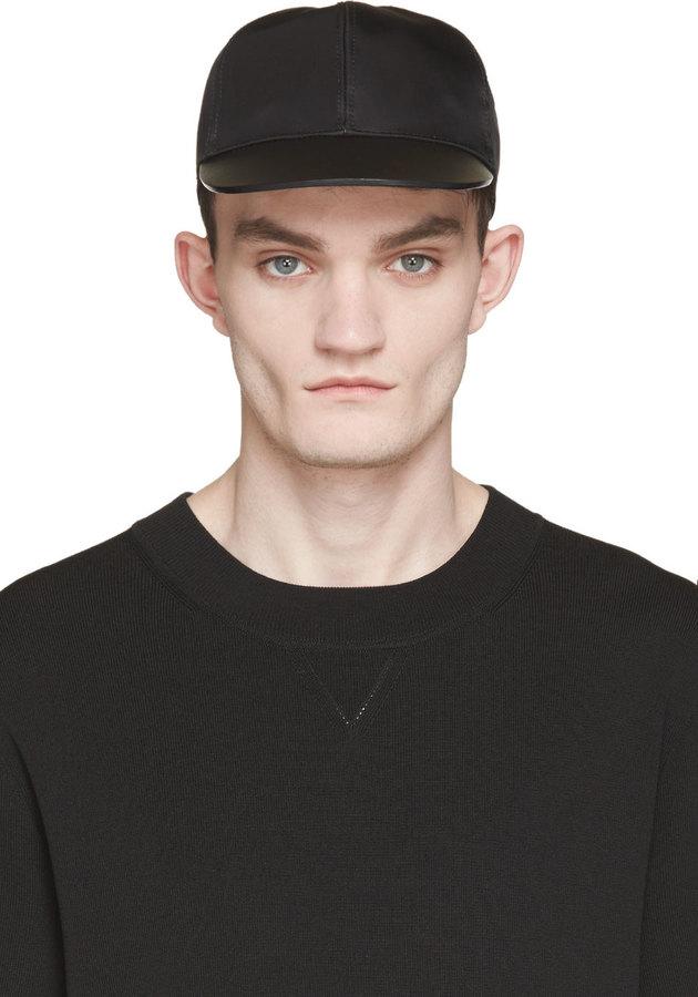 ... Valentino Black Leather Brim Cap ... c01da2d5c94
